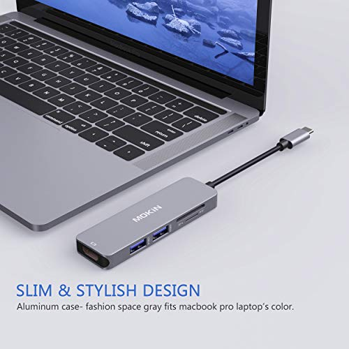 USB C Hub HDMI Adapter for MacBook Pro 2019/2018/2017, MOKiN 5 in 1 Dongle USB-C to HDMI, Sd/TF Card Reader and 2 Ports USB 3.0 (Space Gray)