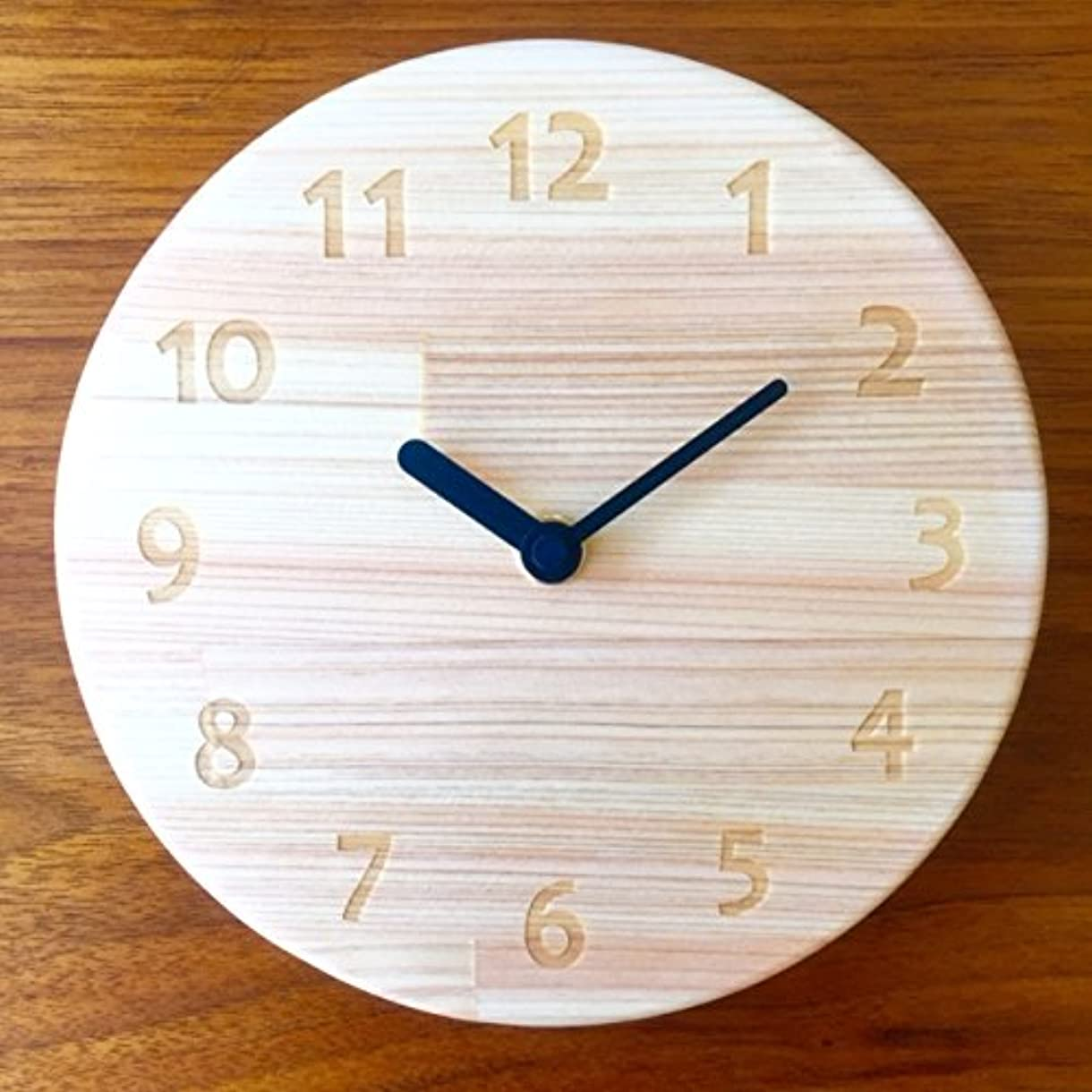 ドロー海外ほんのひのき丸型時計 国産ひのきで作った壁掛け時計 木製
