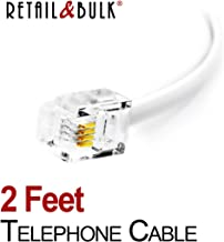 2 Feet Premium Quality Telephone Cable, RJ11 Male to Male 6P4C Phone Line Cord. Made in USA by Retail&Bulk (24 Inch, White)