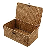homozy Retro Seagrass Woven Wicker Basket with Lid, Rustic Natural Brown Finish, Decorative Accent or Storage - S