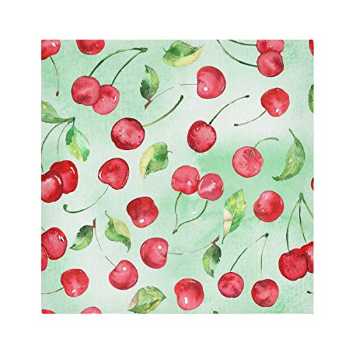 TropicalLife HaJie Napkins Watercolor Cherry Fruit Leaves Dinner Napkin Paper Satin Polyester Cloth Reusable Napkins for Table Kids 20x20 in, 6 Pcs
