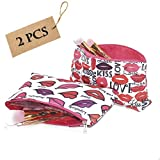 2 pack small Makeup Bag,cute Toiletry Pouch Waterproof Cosmetic Bag with lipstick Patterns