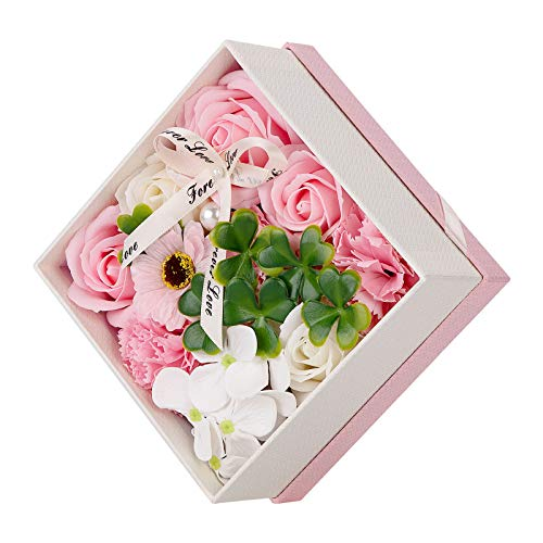 Wisolt Femmes Savon Fleur Boîte, Artificiel Rose Végétale Naturelle Aromathérapie Bain Cadeau pour La Fête des Mères La Saint Valentin La Fête des Enseignants Le Mariage