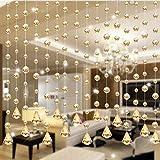 Emptystar Curtain Rod - 1M Acrylic Crystal Clear Garland Hanging Bead Curtain Window Door Curtain Wall Panel Wedding Backdrop - Wedding Club Party Decoration - One Strand (Gold)