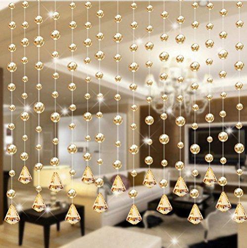PIKAqiu33 1 Luxury Glass Beads Door String Tassel Curtain Wedding Divider Panel Room Decor, Home Decor, for Christmas New Year