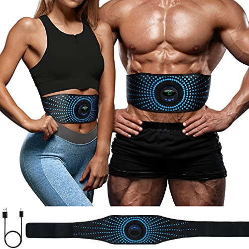 YEMIUGO Abs Muscle Trainer Flex Belt for Women Men, Upgrade No Need Replace Pad AB machine Abs Workout Equipment 6 Modes 15 Intensity Levels- Rechargeable Ab Trainer Belt Muscle Toner for Abdominal