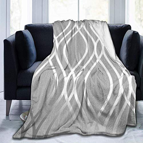 iui Silberne geometrische Figur, Flanelldecke, super weich und bequem, Bettdecke, geeignet für Sofa, Mikrofaser.