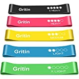 Gritin Resistance Bands, [Set of 5] Skin-Friendly Resistance Fitness Exercise Loop Bands