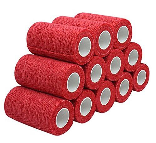 nilo Haftbandagen - 12 Rollen 10cm x 4,5m selbsthaftende elastische atmungsaktive Bandage, Hufverband, Anguss-Verband, Erste Hilfe, Stützverband (Rot)