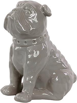 Urban Trends Ceramic Sitting British Bulldog Figurine with Collar Gloss Finish, Gray