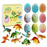 Dino Egg Bath Bomb Gift Set with Dinosaur Inside, 9 Pack Organic Bath Bombs with Surprise Inside, Handmade Fizzy Balls for Kids