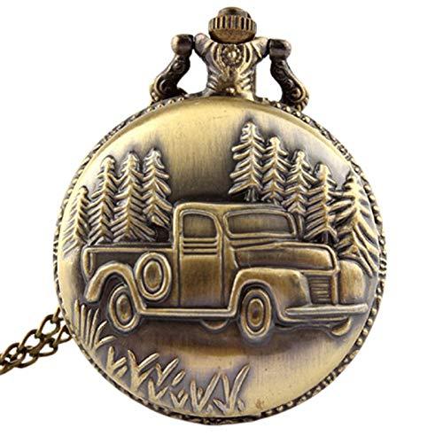 LiQinKeJi8 Reloj de bolsillo antiguo con colgante de coche y camión, reloj de bolsillo de cuarzo, collar de cadena, regalo para hombres y mujeres (color: se muestra como en la imagen).