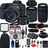 Canon EOS R with RF 24-105mm f/4-7.1 is STM Lens Mirrorless Camera Bundle + EF 75-300 is III, EF 50 1.8 STM, EF-EOS R Mount Adapter, V30 Microphone, LED Light, Extra Battery, Backpack and Accessories