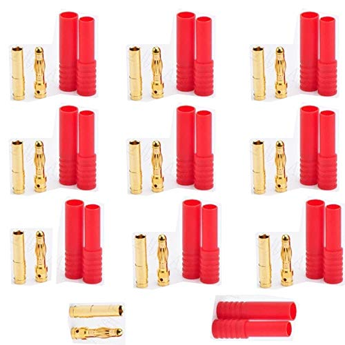 10 Pairs Bullet Banana Connectors HXT 4MM 4.0mm Gold Plating and Red Housing Connector Plug for RC Helicopters