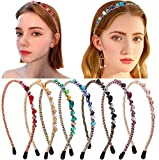 Candygirl Women/Girls Rhinestone Headband Jewel Headbands Diamond Headband Crystal (7pc Set Bejeweled Sparkle Headbands)