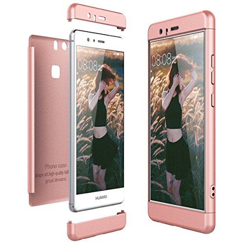 CE-Link Funda para Huawei P9 Rigida 360 Grados Integral, Carcasa Huawei P9 Silicona Snap On Diseño Antigolpes Choque Absorción, Huawei P9 Case Bumper 3 en 1 Estructura - Oro Rosa