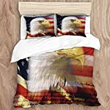 Juego de funda nórdica, bandera de rayas y estrellas para el día de la independencia, águila calva americana de la bandera de EE. UU., Juego de cama decorativo de 3 piezas con 2 fundas de almohada