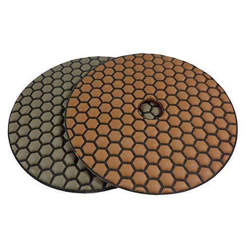 Spar Set professionele diamant slijppads Dia-dry, korrel 200 en 400 stuks, Ø 125 mm, voor droogslijpen, natuursteen, beton, marmer, graniet, perfect voor het bewerken van natuurstenen, glas keramiek vensterbanken, keukenwerkbladen vloeren