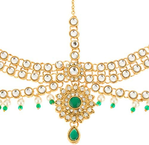 Indian jewellery traditional vintage bridal tikka headpiece imitation gold pearl