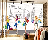 LONGYUCHEN Murales De Seda 3D Personalizados Patrones Creativos Edificios Adecuados Para La Tienda De Uñas Tienda De Maquillaje Peluquería Tienda De Ropa Fondo De Pantalla Wallpaper,60Cm(H)×120Cm(W)