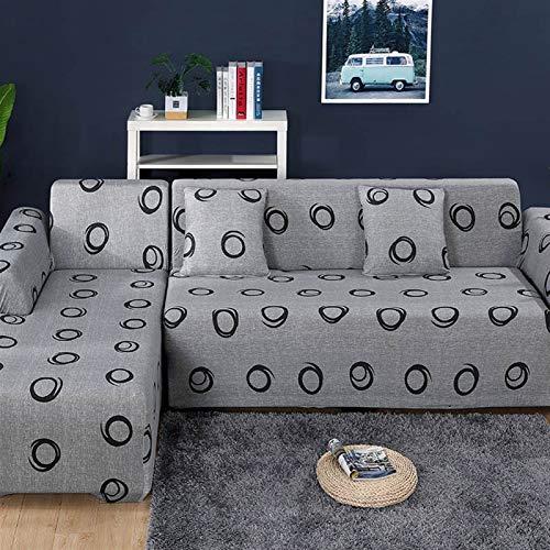 NEWRX Cubierta de sofá elástica para Sala de Estar Sofá Toalla Resistente a la Toalla Patrón de Sarga L-formado Caja de Longue Sofá Necesidades Pedido 2 Piezas Cubierta