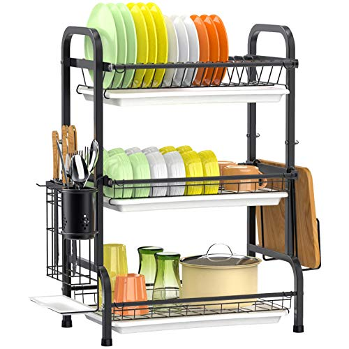 Dish Drying Rack, F-color 3-Tier Large Capacity 201 Stainless Steel Dish Rack with Utensil Holder, Dish Drainer for Kitchen Counter, Anti Rust Rack of Dishes with Cutting Board Holder, Black