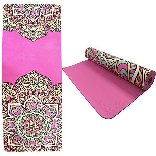 ZYXYBF 1pcs 5.5mm TPE Gamuza Yoga Mat Pad Deporte Antideslizante Impresa Color Que Adelgaza la Aptitud Colchoneta de Ejercicio for Viajes Gimnasia Pilates 61 cm (Color : Pink)