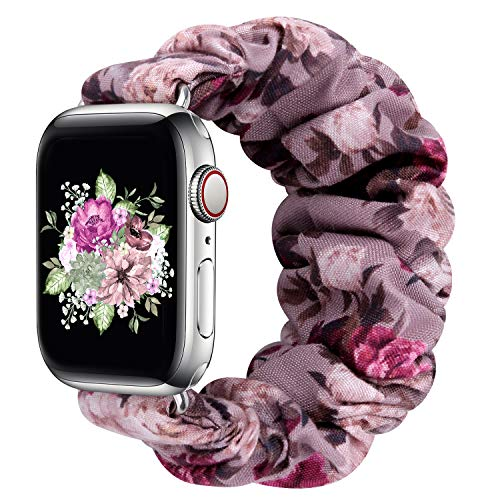 Greatfine Compatible for Apple Watch Band Scrunchie 38mm 40mm 42mm 44mm,Soft Elastic Strap Watch Bands,With iWatch Series 6 SE 5 4 3 2 1,S L Printing Replacement Wristband for Women Men(38/40mm-M)