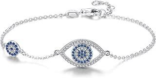 Blue Evil Eyes Link Bracelet Sterling Silver 925 Cubic Zirconia Chain Adjustable 6.7