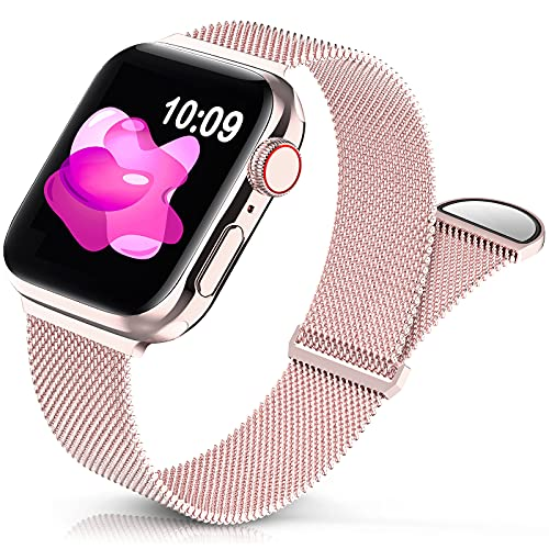 Sunnywoo Metal Stainless Steel Band Compatible with Apple Watch Bands 38mm 40mm 42mm 44mm,Rose Gold Loop Adjustable Strap Magnetic Replacement Wristband for iWatch Series 6 5 4 3 2 1 SE for Women Men