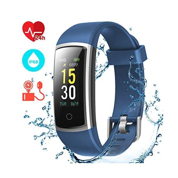 CHEREEKI Pulsera Actividad, Pulsera de Actividad con Monitor Ritmo Cardíaco Medición de la presión Arterial IP68… 1