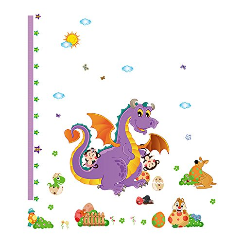 Winhappyhome Dinosaur Kids Height Measurement Chart Décalcomanies pour La Chambre des Enfants Garderie Kindergarten Amovible Décor Stickers