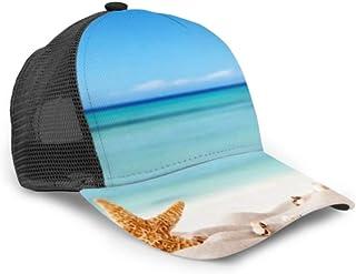Gorra de béisbol Concepto de Verano Sandy Beach Shells Starfish Malla Ajustable Gorra de béisbol Unisex Sombrero de Camionero Se Adapta a Hombres Mujeres Sombrero