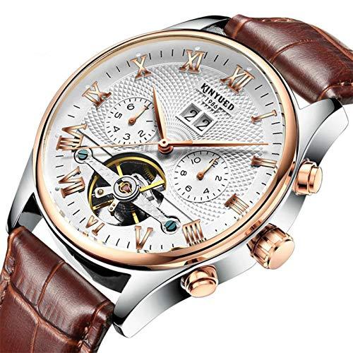 JTTM Moda Business Hombres Automático Mecánico Tourbillon Relojes De Pulsera Cuero Correa Luminoso Puntero Calendario Multifunción,Brown White