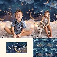 新生児の背景写真撮影クラウドゴールドムーンスター子供の誕生日パーティーシャワーの背景写真スタジオ-220x150CM