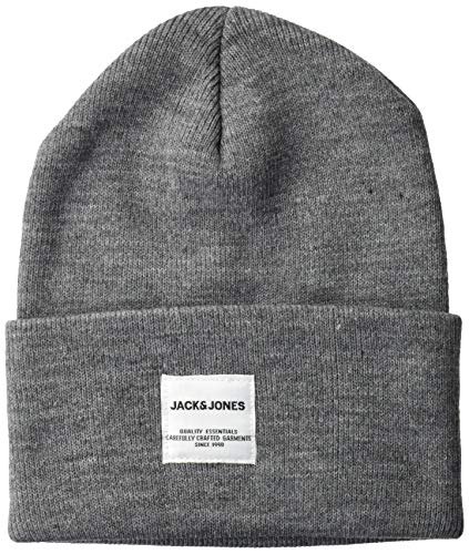 JACK & JONES Herren JACLONG KNIT BEANIE NOOS Strickmütze, Grau (Grey Melange Grey Melange), ONE Size/