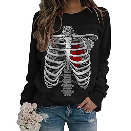 BOOMJIU Mujeres Halloween Pullover Sudaderas Esqueleto Impreso Manga Larga Jumper Tops Estética Vintage Hoodies Streetwear