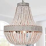 ANKARL Wood Beaded Chandelier, Boho Light Fixtures, 3-Light, Farmhouse Pendant Light,...