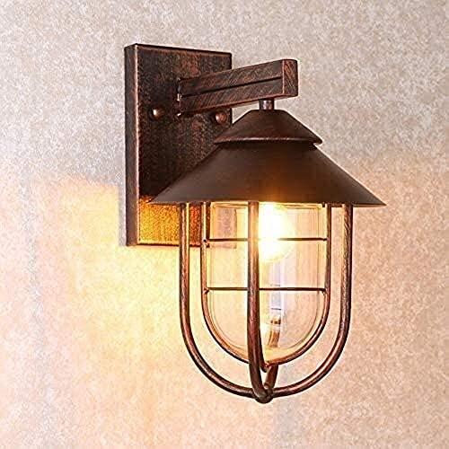 Waqihreu Lámpara de Pared Exterior Porche Balcón Patio Industrial 1 luz Náutica Exterior en Cobre Lámpara de Pared Linterna de Pared de Vidrio Retro a Prueba de Lluvia