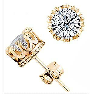 Korean version of the crown earrings diamond jewelry wholesale jewelry jewelry zircon earrings female anti - allergic silver ear(Gold)