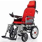 BXZ Silla de ruedas eléctrica de servicio pesado con reposacabezas, silla de ruedas eléctrica plegable y ligera, ancho del asiento: 45 cm, joystick, plegado eléctrico o silla de ruedas manual para ad