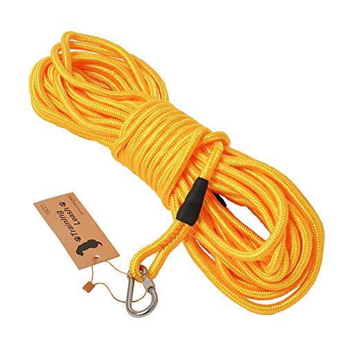4色展開 (ロングリード 15m イエロー) 丸ロープ 軽量 中型犬 大型犬用 伸縮性抜群 絡みにくい 水に浮く頑丈なトレーニングリード SRT