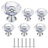 Pomos y Tiradores de Cristal, Pomo Puerta de Diamante, Tiradores Muebles para Armario Cajóns Aparador Cocina Armario - 6 Piezas/30 mm
