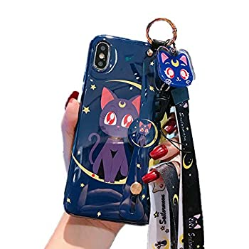 for iPhone 6 Plus 6s Plus Case Cover Japan Anime Sailor Moon Case with Lanyard Strap Silicone Soft Phone Case Back Cover for iPhone 6 Plus 6s Plus  Luna Cat for iPhone 6 Plus/6s Plus