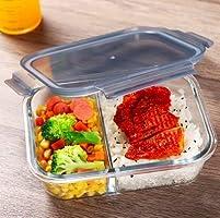 DITYA ENTERPRISE 2 Compartment Rectangular Glass Storage Bowl Set with Clamp Plastic Multicolor Lid (1000ML)