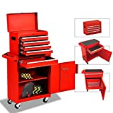 5-Drawer Rolling Tool Chest Portable Removable Tool Cabinet, Tool Storage Box Big Tool Chest with 4 Wheels and Sliding Metal Keyed Locking System Drawers(Red)