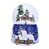 Caja de música de bola de cristal navideña con rotación de luz, aerosol automático Copo de nieve giratorio Casa de nieve de Navidad Caja de música de bola de cristal con castillo regalo de cumpleaños