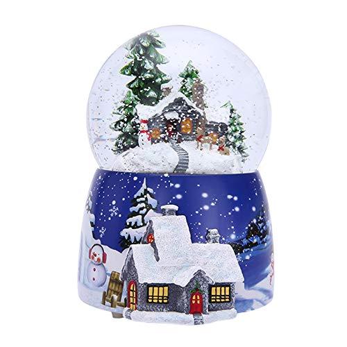 Caja de música de bola de cristal navideña con rotación de luz,...