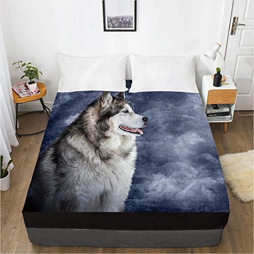 lhmlyl Mattress Cover 3D Digital Printing Factory 360 Degree Li Mattress Protector Animal Wolf-Wolf 048-Black-F_137X190X40Cm