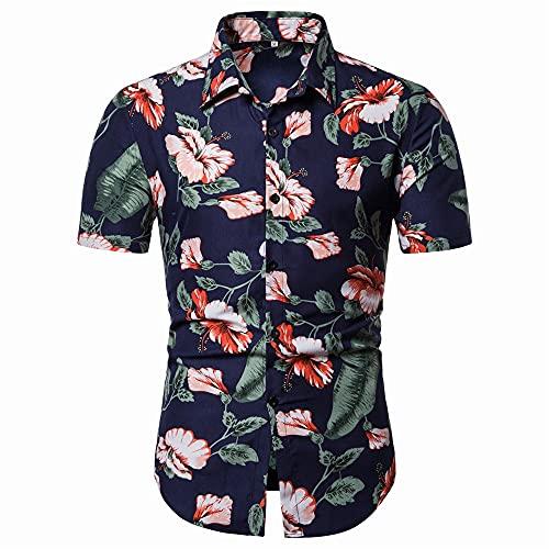 Camisa Hombre Verano Transpirable Estampado Vintage Hombre Shirt Cuello Kent Moda Botón Tapeta Moderna Shirt Ocio Manga Corta Hawaii Tendencia Negocios Hombre Shirt Playa G-C36 3XL